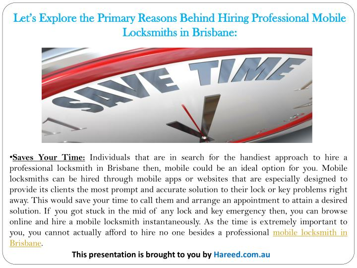 Let's Explore the Primary Reasons Behind Hiring Professional Mobile Locksmiths in Brisbane: