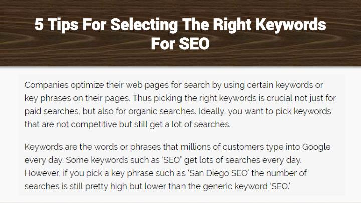 5 Tips For Selecting The Right Keywords For SEO
