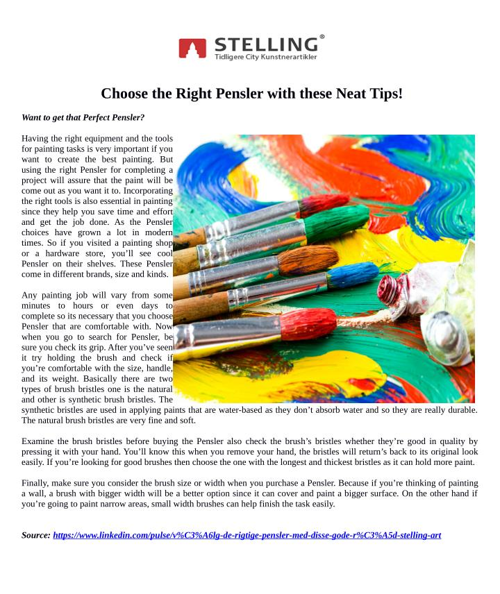 Choose the Right Pensler with these Neat Tips!