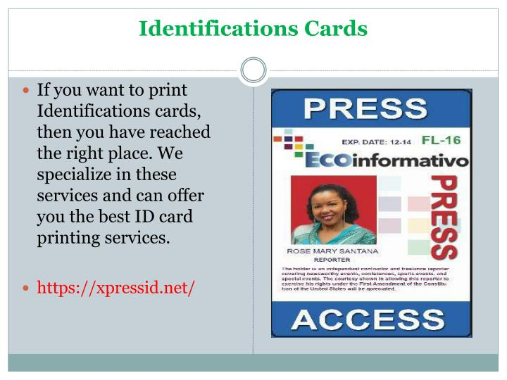 Identifications cards