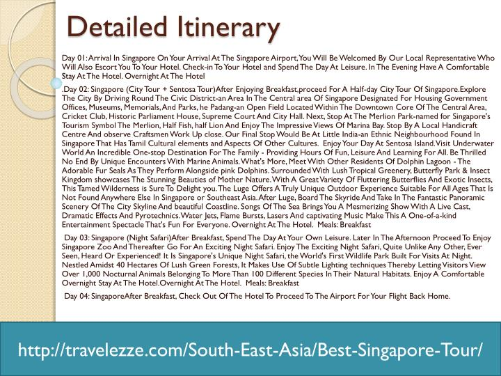 Detailed itinerary