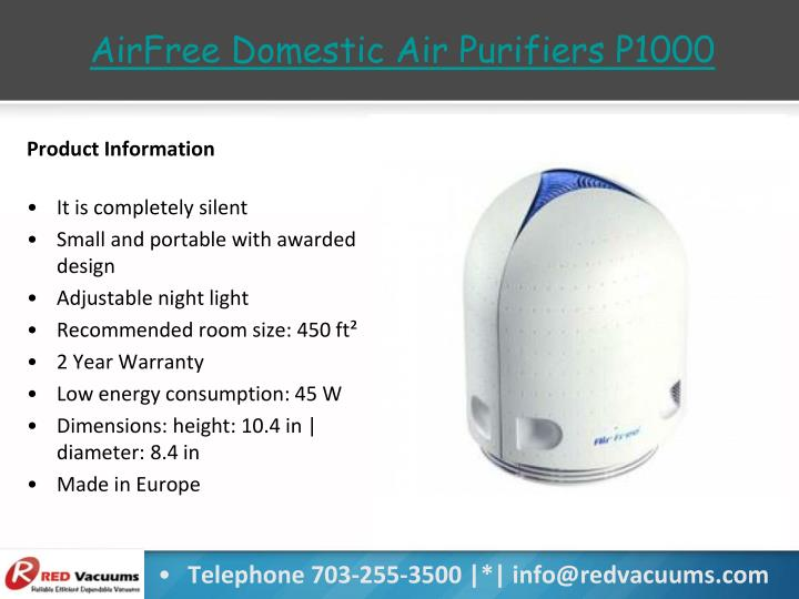 AirFree Domestic Air Purifiers P1000