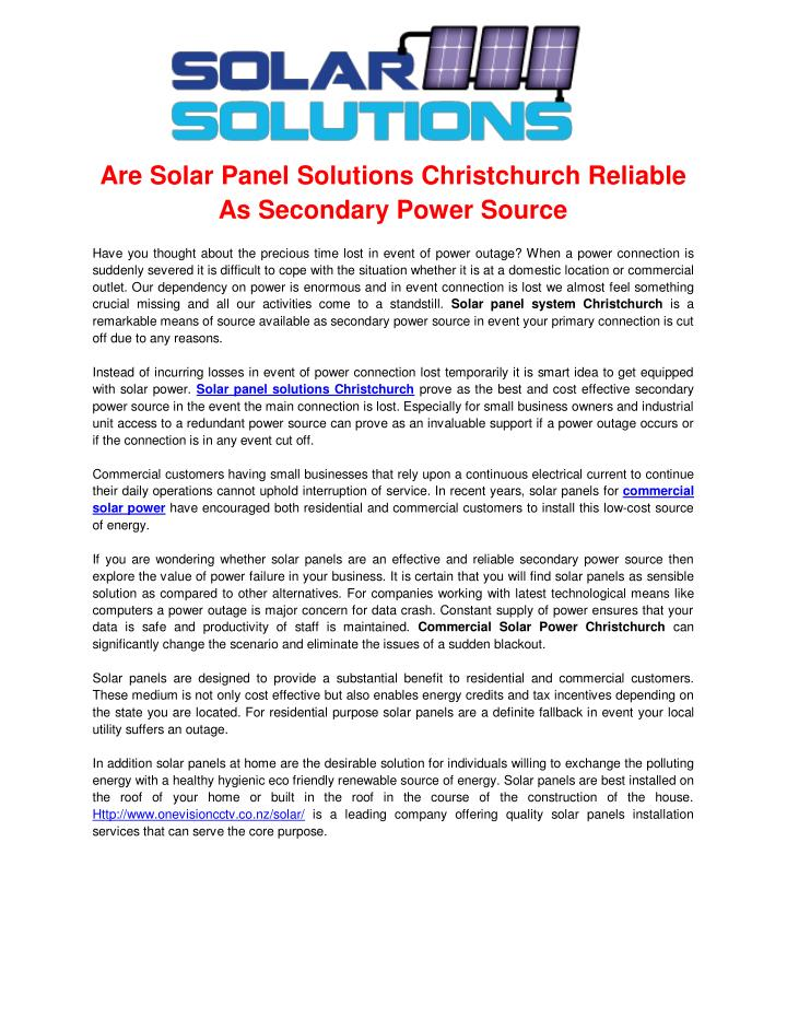 Are Solar Panel Solutions Christchurch Reliable
