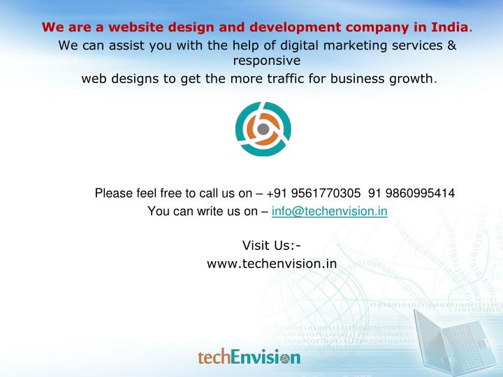 We are a website design and development company in India