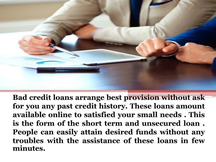 Bad credit loans arrange best