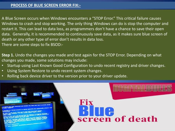 PROCESS OF BLUE SCREEN ERROR FIX:-