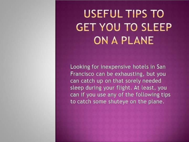 Useful tips to get you to sleep on a plane
