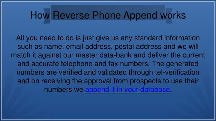 How Reverse Phone Append works