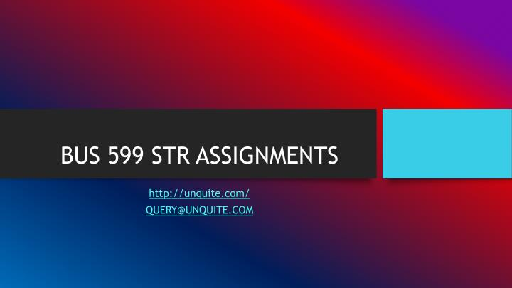 Bus 599 str assignments