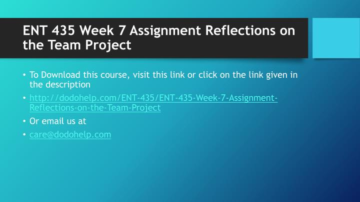 Ent 435 week 7 assignment reflections on the team project1