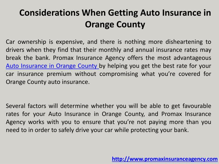 Considerations When Getting Auto Insurance in Orange County