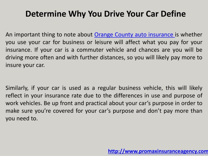 Determine Why You Drive Your Car Define