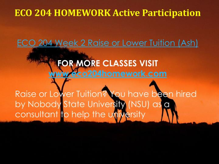 ECO 204 HOMEWORK Active Participation