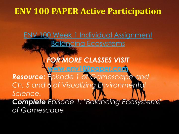 ENV 100 PAPER Active Participation
