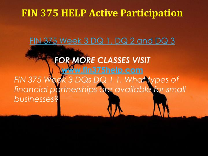 FIN 375 HELP Active Participation