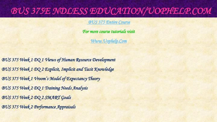 Bus 375e ndless education uophelp com1