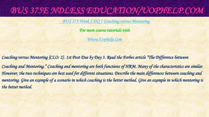 BUS 375E ndless Education/