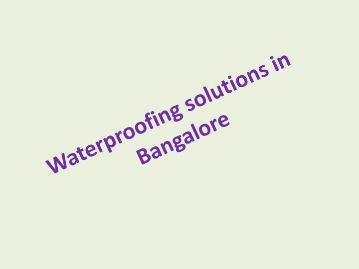 Waterproofing solutions in