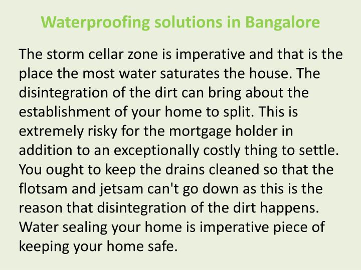 Waterproofing solutions in Bangalore