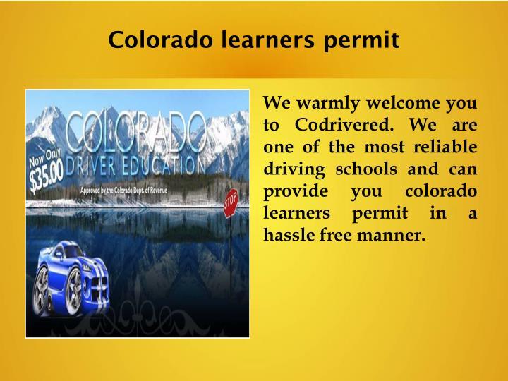 Colorado learners permit
