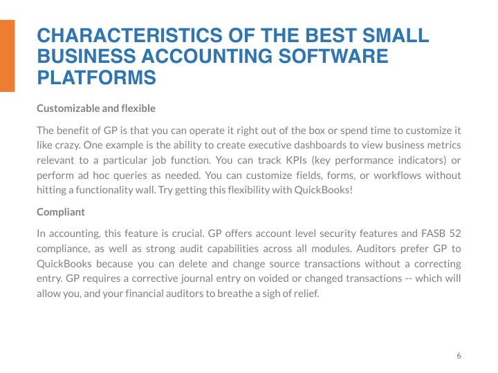 CHARACTERISTICS OF THE BEST SMALL