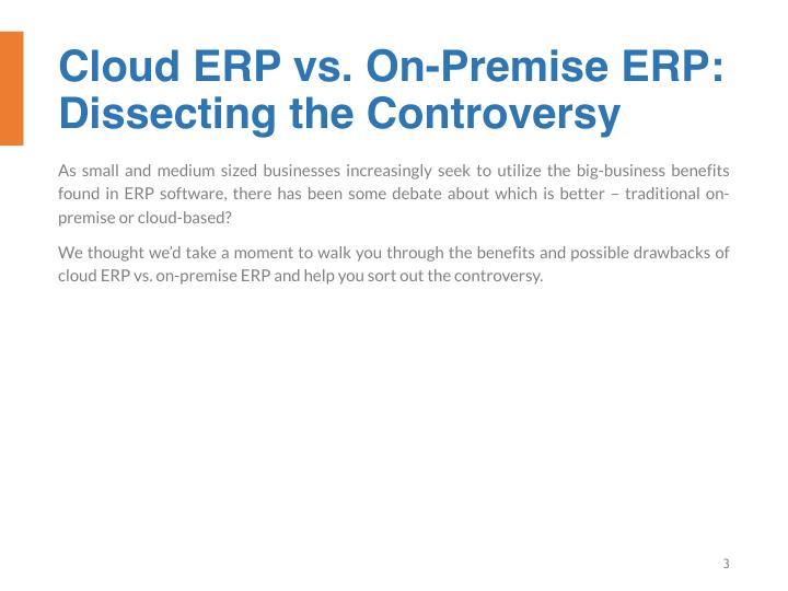 Cloud ERP vs. On-Premise ERP: