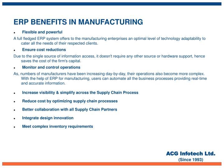 ERP BENEFITS IN MANUFACTURING