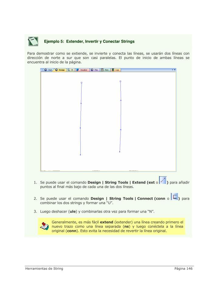 Ejemplo 5:  Extender, Invertir y Conectar Strings