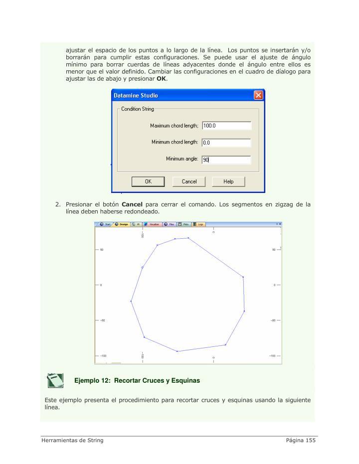 ajustar el espacio de los puntos a lo largo de la línea.  Los puntos se insertarán y/o