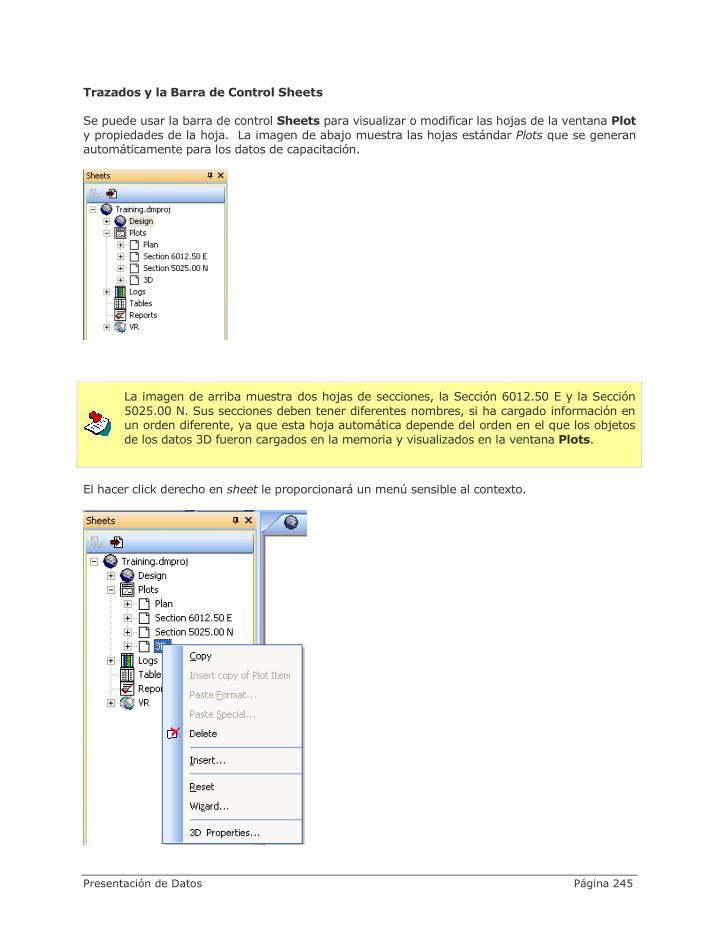 Trazados y la Barra de Control Sheets