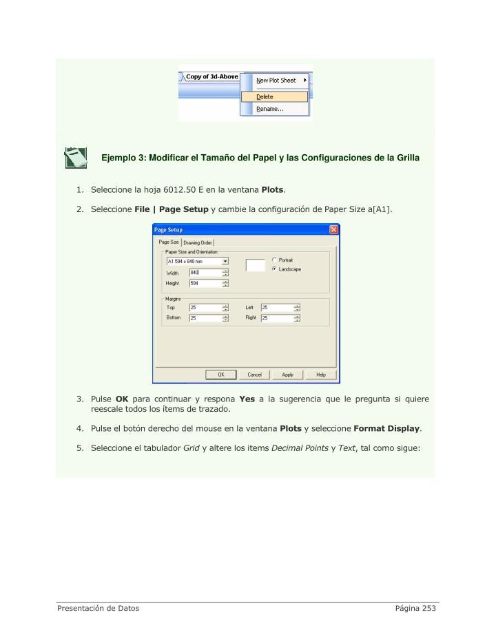 Ejemplo 3: Modificar el Tamaño del Papel y las Configuraciones de la Grilla