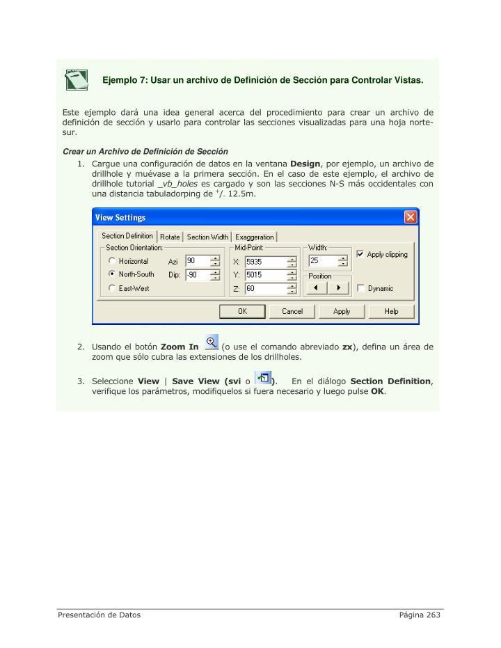 Ejemplo 7: Usar un archivo de Definición de Sección para Controlar Vistas.
