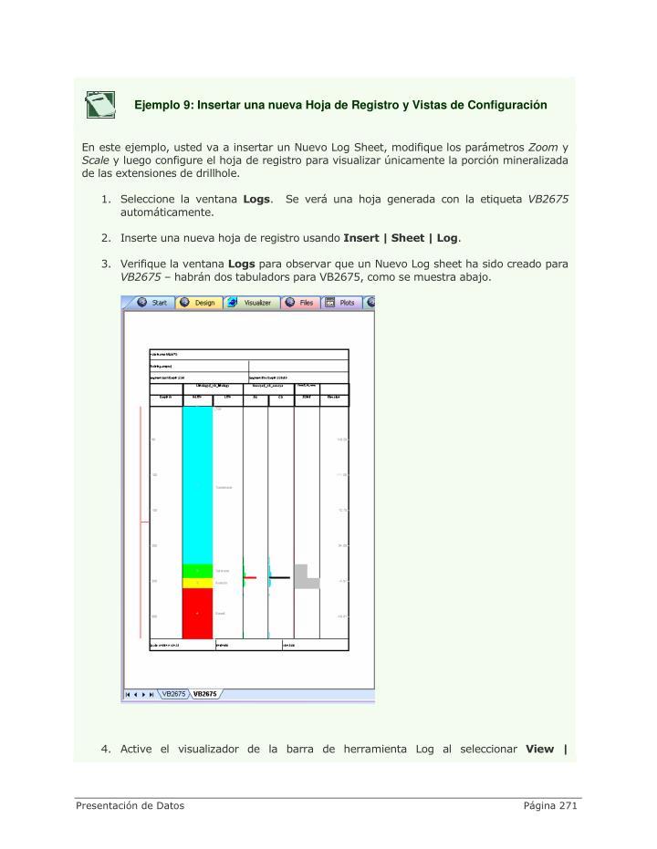 Ejemplo 9: Insertar una nueva Hoja de Registro y Vistas de Configuración