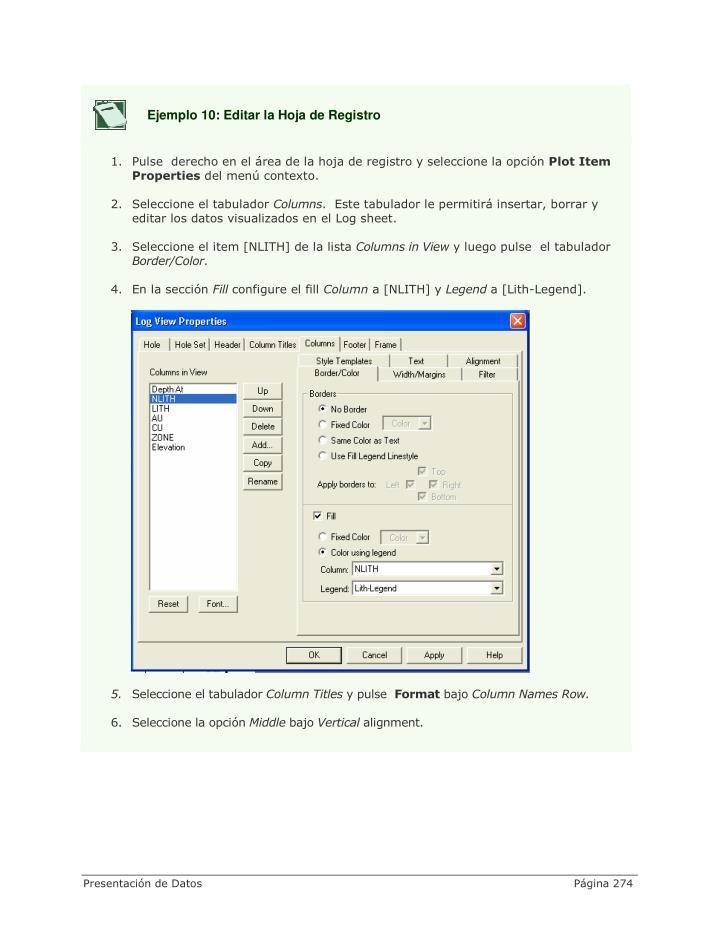 Ejemplo 10: Editar la Hoja de Registro