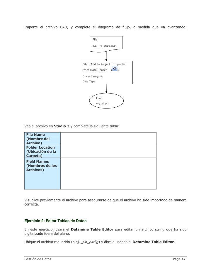 Importe el archivo CAD, y complete el diagrama de flujo, a medida que va avanzando.