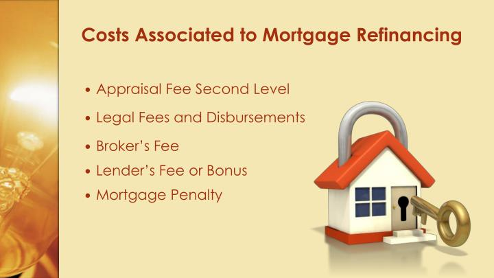 Costs associated to mortgage refinancing
