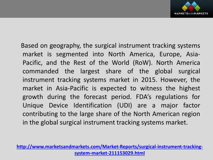 Based on geography, the surgical instrument tracking systems market is segmented into North America, Europe, Asia-Pacific, and the Rest of the World (