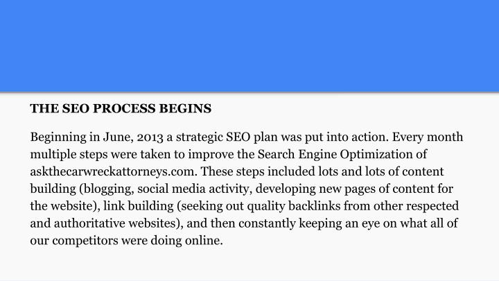 THE SEO PROCESS BEGINS