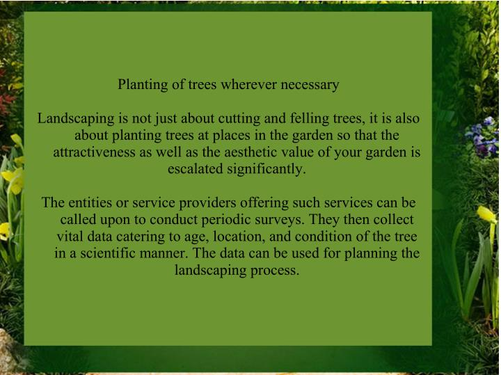 Planting of trees wherever necessary