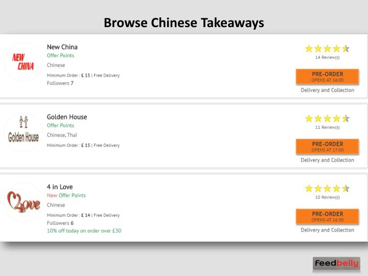 Browse Chinese Takeaways