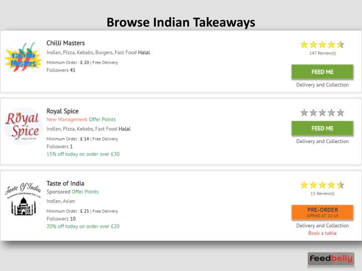 Browse Indian Takeaways