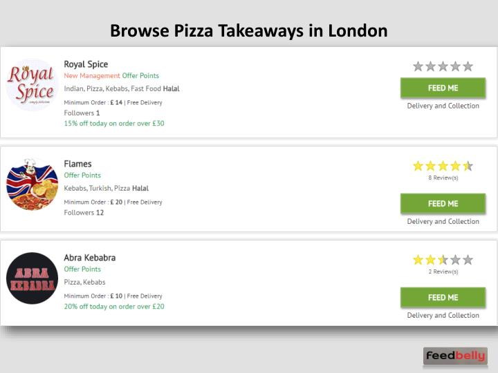Browse Pizza Takeaways in London