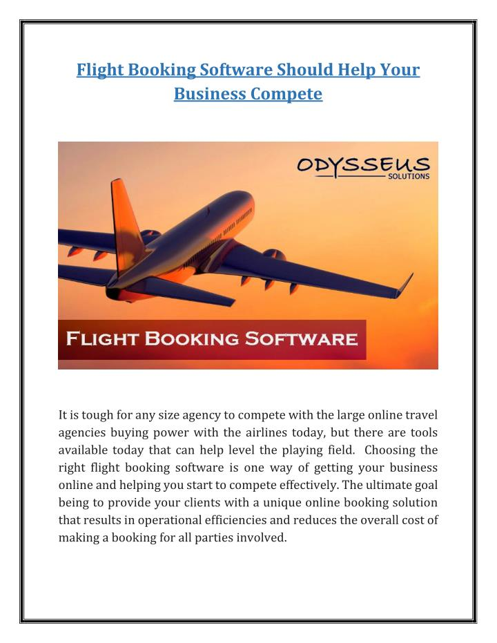 Flight Booking Software Should Help Your