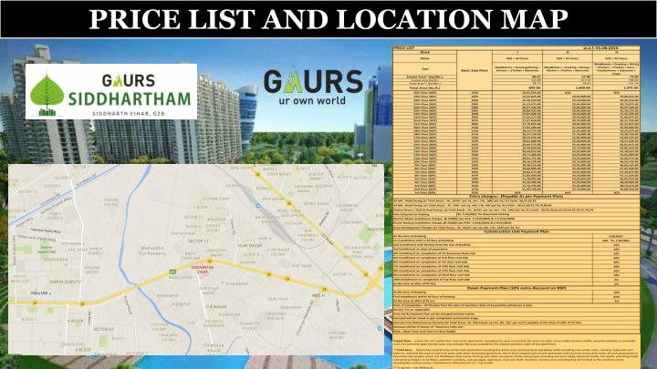 PRICE LIST AND LOCATION MAP
