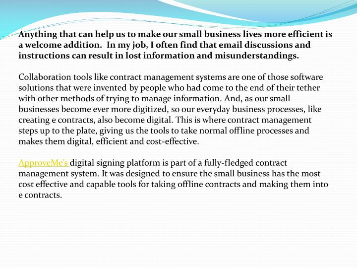 Anything that can help us to make our small business lives more efficient is a welcome addition.  I...