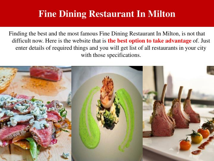 Fine Dining Restaurant In Milton