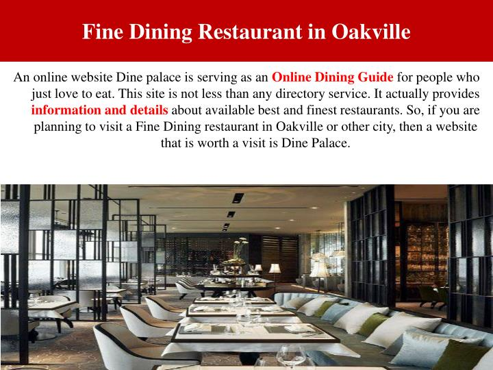 Fine dining restaurant in oakville