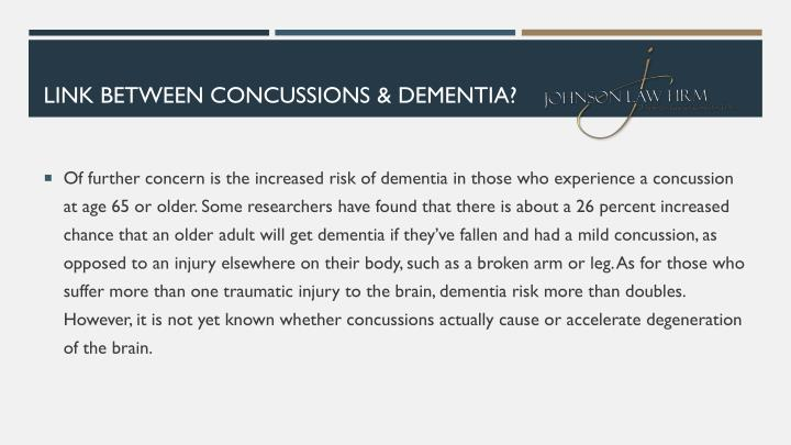 LINK BETWEEN CONCUSSIONS & DEMENTIA?