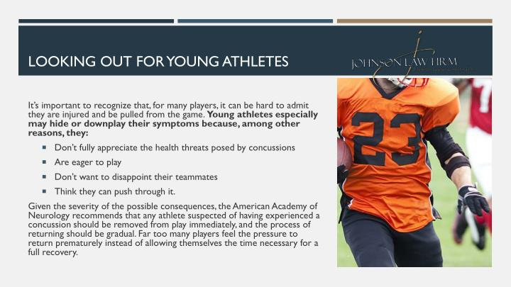 LOOKING OUT FOR YOUNG ATHLETES