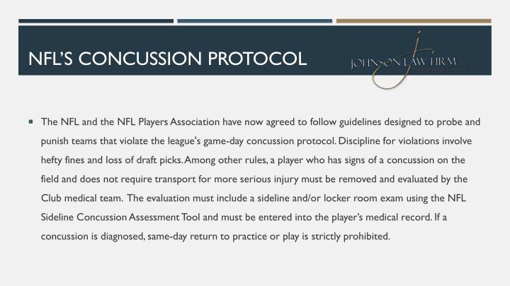 NFL'S CONCUSSION PROTOCOL